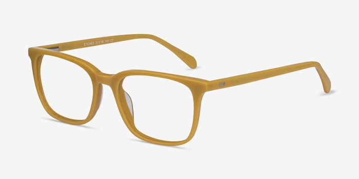 Etched Yellow Acetate Eyeglass Frames from EyeBuyDirect, Angle View