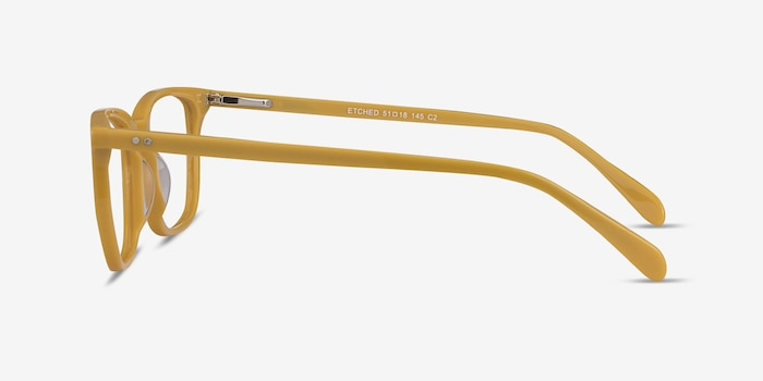 Etched Yellow Acetate Eyeglass Frames from EyeBuyDirect, Side View