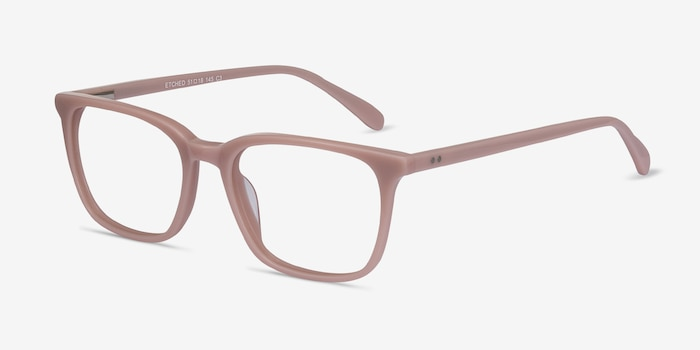 Etched Pink Acetate Eyeglass Frames from EyeBuyDirect, Angle View