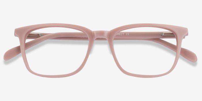 Etched Pink Acetate Eyeglass Frames from EyeBuyDirect, Closed View