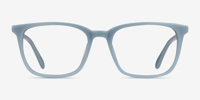 Etched Blue Acetate Eyeglass Frames from EyeBuyDirect, Front View