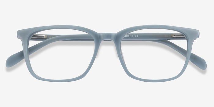 Etched Blue Acetate Eyeglass Frames from EyeBuyDirect, Closed View