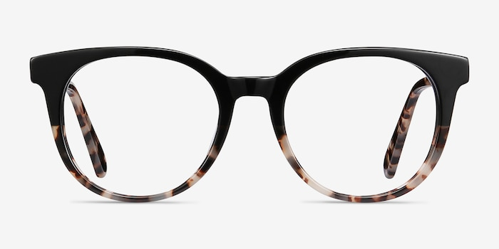Rialto Black Tortoise Acetate Eyeglass Frames from EyeBuyDirect, Front View