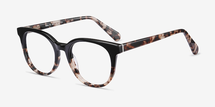 Rialto Black Tortoise Acetate Eyeglass Frames from EyeBuyDirect, Angle View