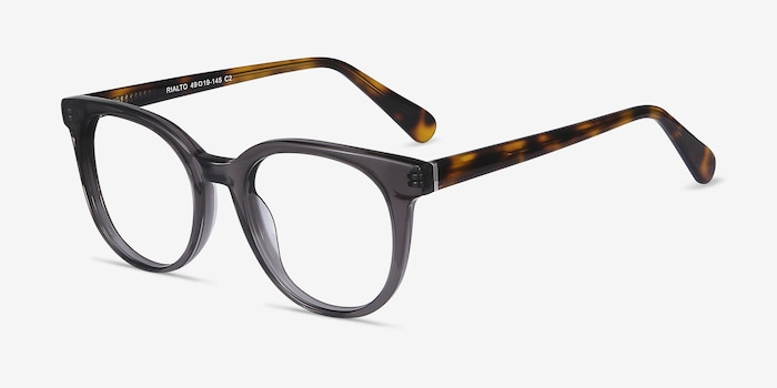 Rialto Gray Acetate Eyeglass Frames from EyeBuyDirect, Angle View
