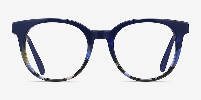 Rialto Blue Floral Acetate Eyeglass Frames from EyeBuyDirect, Front View