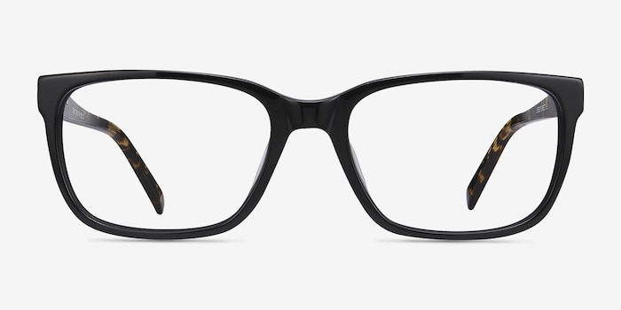 Demo Black Acetate Eyeglass Frames from EyeBuyDirect, Front View