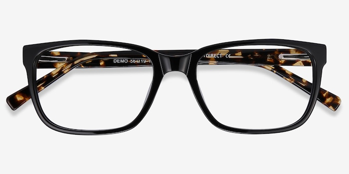 Demo Black Acetate Eyeglass Frames from EyeBuyDirect, Closed View