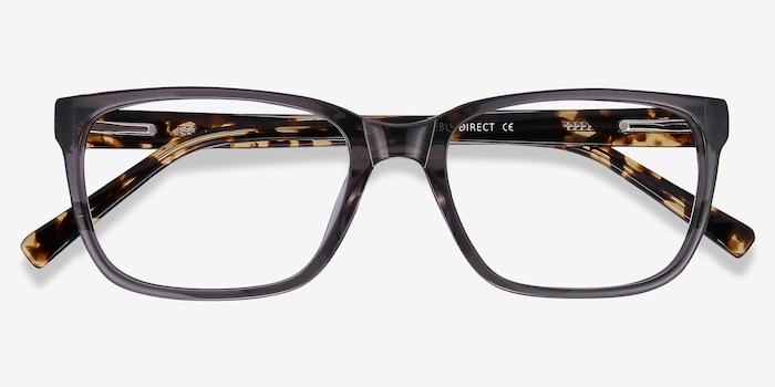 Demo Gray Acetate Eyeglass Frames from EyeBuyDirect, Closed View