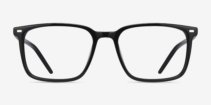 Chief Black Acetate Eyeglass Frames from EyeBuyDirect, Front View