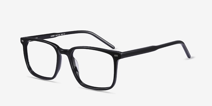Chief Black Acetate Eyeglass Frames from EyeBuyDirect, Angle View