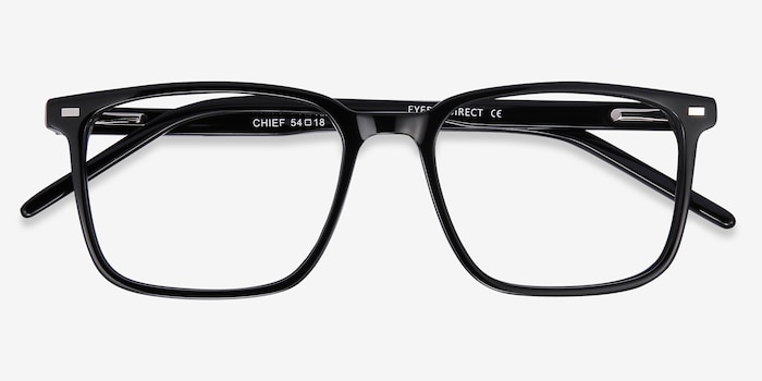 Chief Black Acetate Eyeglass Frames from EyeBuyDirect, Closed View
