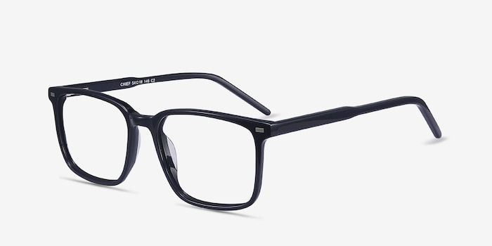 Chief Navy Acetate Eyeglass Frames from EyeBuyDirect, Angle View