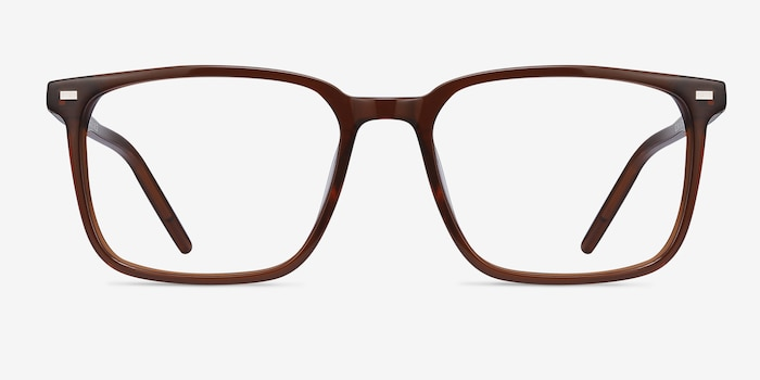 Chief Brown Acetate Eyeglass Frames from EyeBuyDirect, Front View