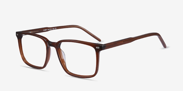 Chief Brown Acetate Eyeglass Frames from EyeBuyDirect, Angle View