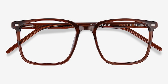 Chief Brown Acetate Eyeglass Frames from EyeBuyDirect, Closed View