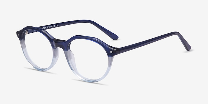 Moby Clear Blue Acetate Eyeglass Frames from EyeBuyDirect, Angle View