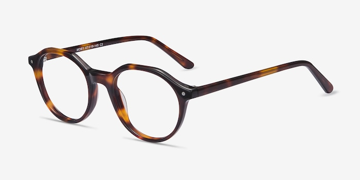 Moby Tortoise Acetate Eyeglass Frames from EyeBuyDirect, Angle View