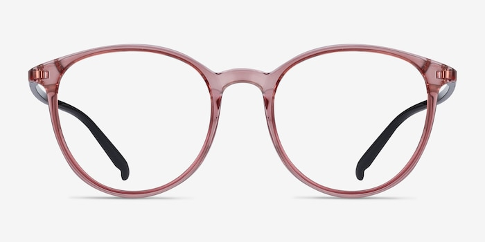 Macaron Clear Pink Plastic Eyeglass Frames from EyeBuyDirect, Front View
