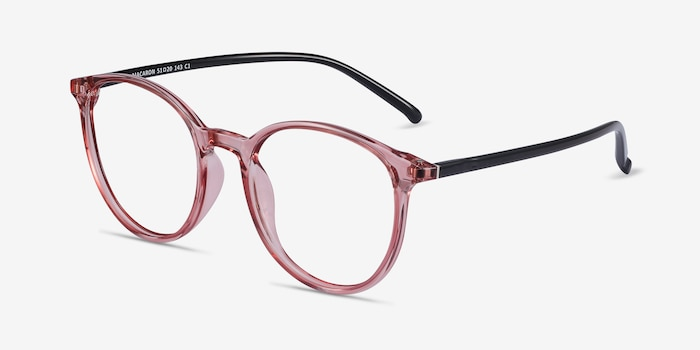 Macaron Clear Pink Plastic Eyeglass Frames from EyeBuyDirect, Angle View
