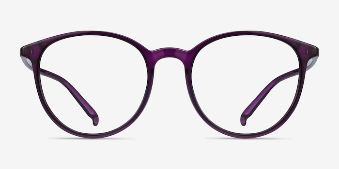 Macaron Purple Plastic Eyeglass Frames from EyeBuyDirect, Front View