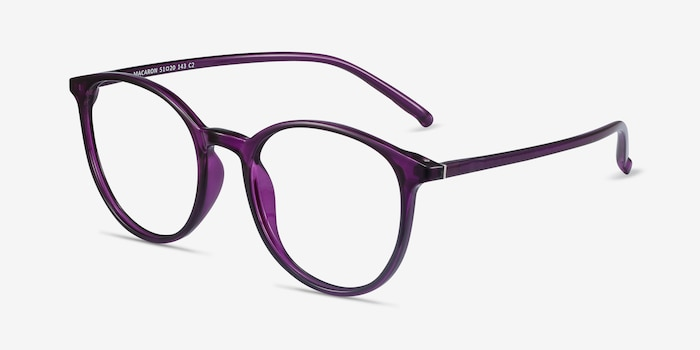 Macaron Purple Plastic Eyeglass Frames from EyeBuyDirect, Angle View