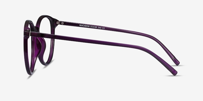 Macaron Purple Plastic Eyeglass Frames from EyeBuyDirect, Side View