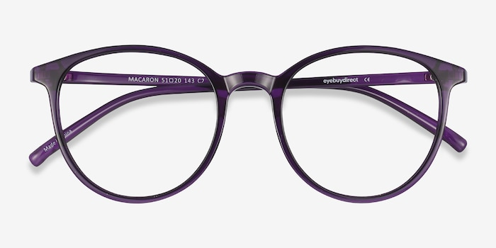 Macaron Purple Plastic Eyeglass Frames from EyeBuyDirect, Closed View