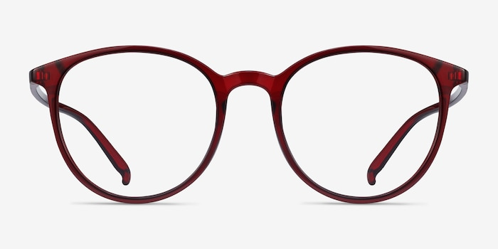 Macaron Burgundy Plastic Eyeglass Frames from EyeBuyDirect, Front View