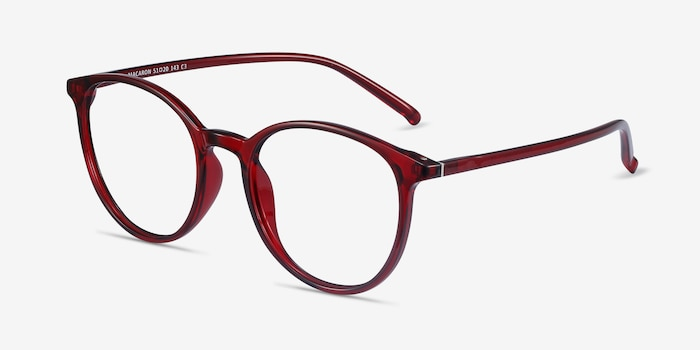 Macaron Burgundy Plastic Eyeglass Frames from EyeBuyDirect, Angle View