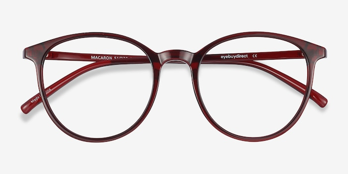 Macaron Burgundy Plastic Eyeglass Frames from EyeBuyDirect, Closed View