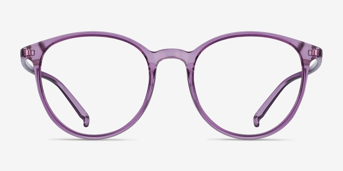 Macaron Clear Purple Plastic Eyeglass Frames from EyeBuyDirect, Front View