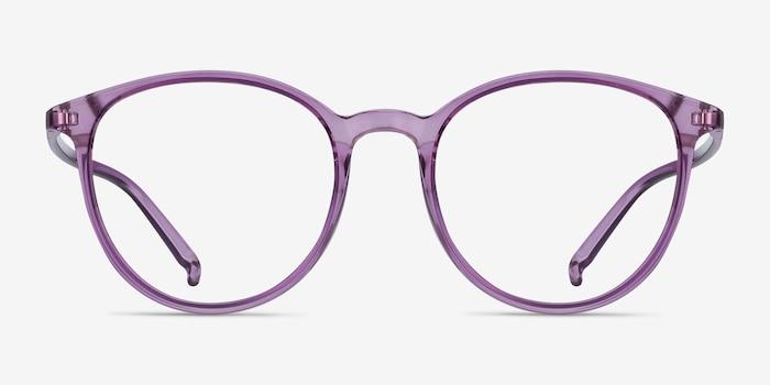Macaron Clear Purple Plastique Montures de Lunettes d'EyeBuyDirect, Vue de Face