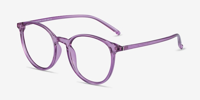 Macaron Clear Purple Plastique Montures de Lunettes d'EyeBuyDirect, Vue d'Angle
