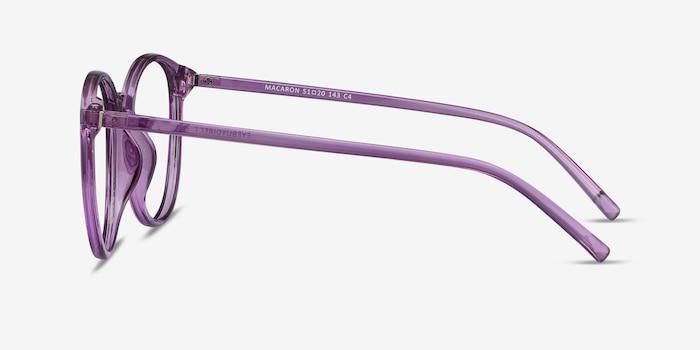 Macaron Clear Purple Plastique Montures de Lunettes d'EyeBuyDirect, Vue de Côté