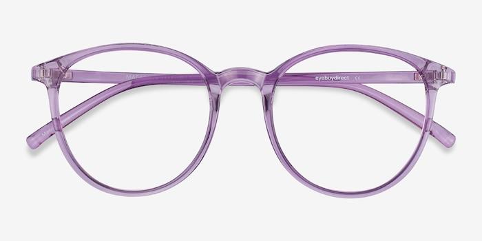 Macaron Clear Purple Plastique Montures de Lunettes d'EyeBuyDirect, Vue Rapprochée