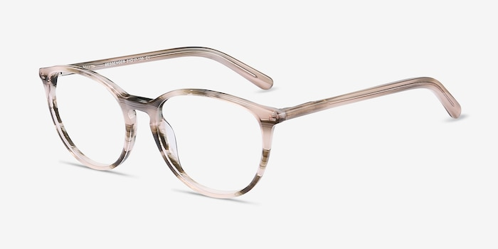 Messenger Striped Acetate Eyeglass Frames from EyeBuyDirect, Angle View
