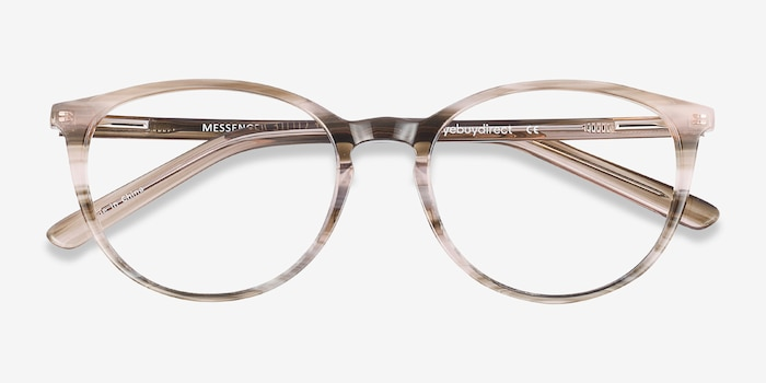 Messenger Striped Acetate Eyeglass Frames from EyeBuyDirect, Closed View