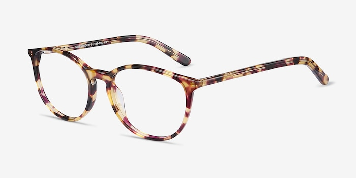 Messenger Tortoise Acetate Eyeglass Frames from EyeBuyDirect, Angle View