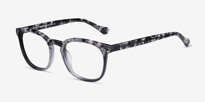 Keen Gray Floral Acetate Eyeglass Frames from EyeBuyDirect, Angle View