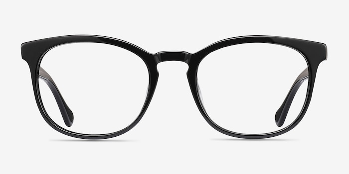 Keen Black Acetate Eyeglass Frames from EyeBuyDirect, Front View