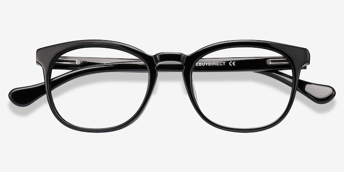Keen Black Acetate Eyeglass Frames from EyeBuyDirect, Closed View