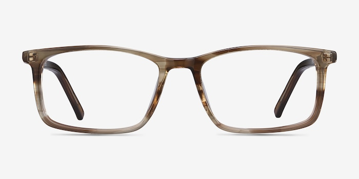 Crane Brown Striped Acetate Eyeglass Frames from EyeBuyDirect, Front View