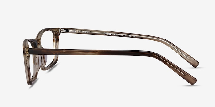 Crane Brown Striped Acetate Eyeglass Frames from EyeBuyDirect, Side View