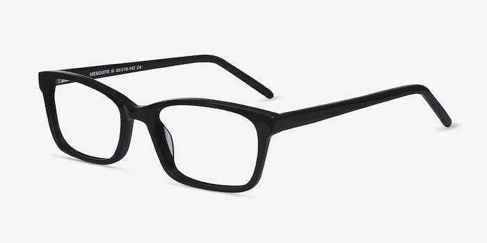 Mesquite Noir Acétate Montures de Lunettes d'EyeBuyDirect, Vue d'Angle