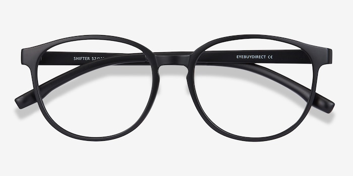 Shifter Black Plastic Eyeglass Frames from EyeBuyDirect, Closed View
