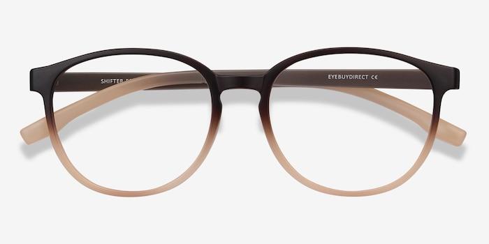 Shifter Marron Plastique Montures de Lunettes d'EyeBuyDirect, Vue Rapprochée