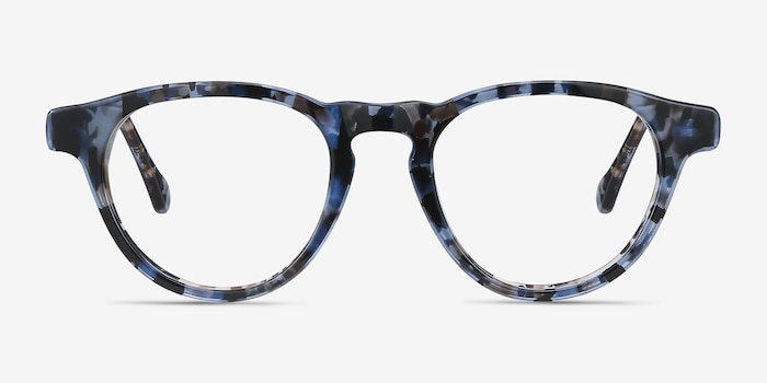 Marine Blue Tortoise Acetate Eyeglass Frames from EyeBuyDirect, Front View