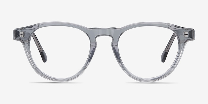Marine Clear Gray Acetate Eyeglass Frames from EyeBuyDirect, Front View