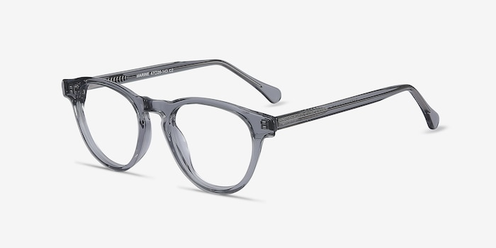 Marine Clear Gray Acetate Eyeglass Frames from EyeBuyDirect, Angle View